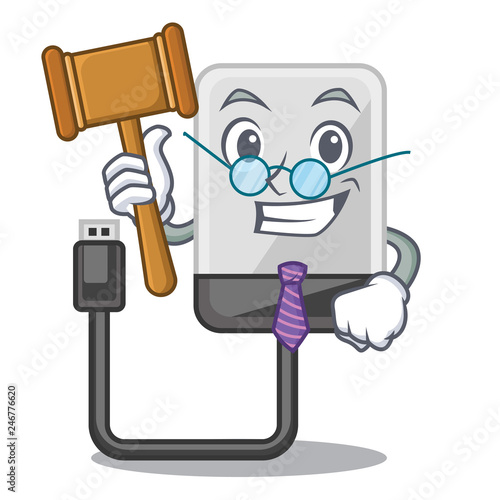 Foto  Judge cartoon hard drive in the bag