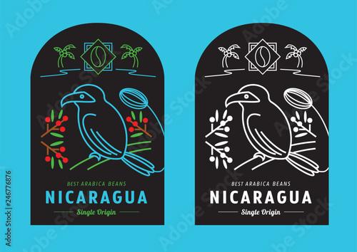 Fotografía Nicaragua coffee beans label design