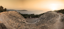 The Theatre Of Antiphellos Ancient City In Kas District At Panoromic Sunset , Antalya, Turkey