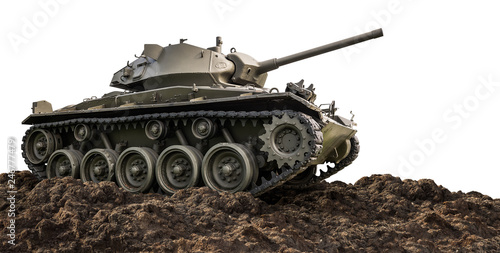 Photo  Heavy armor military tank isolated