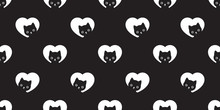 Cat Seamless Pattern Heart Vector Valentine Kitten Head Calico Scarf Isolated Repeat Wallpaper Cartoon Tile Background Illustration Black