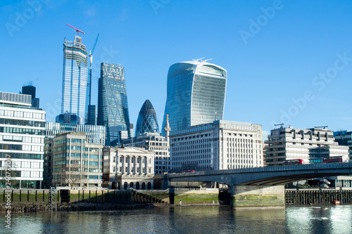 Fotobehang Centraal Europa London Financial Skyline With River Thames And London Bridge In Foreground
