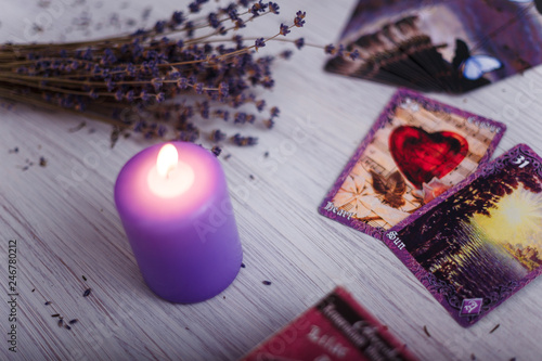 divination cards alignment for love and family with lavender and candle Canvas Print
