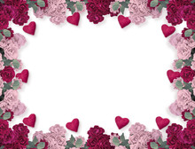 Floral Frame With Rose Flowers...
