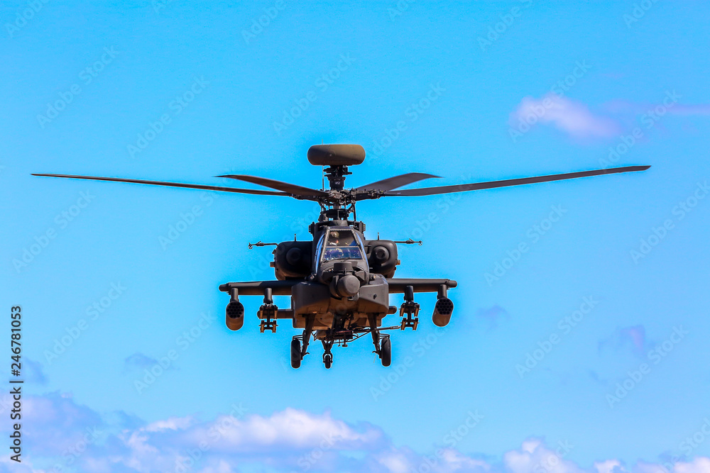 Fototapety, obrazy: Fighting helicopter in military training Saber Strike in Latvia.