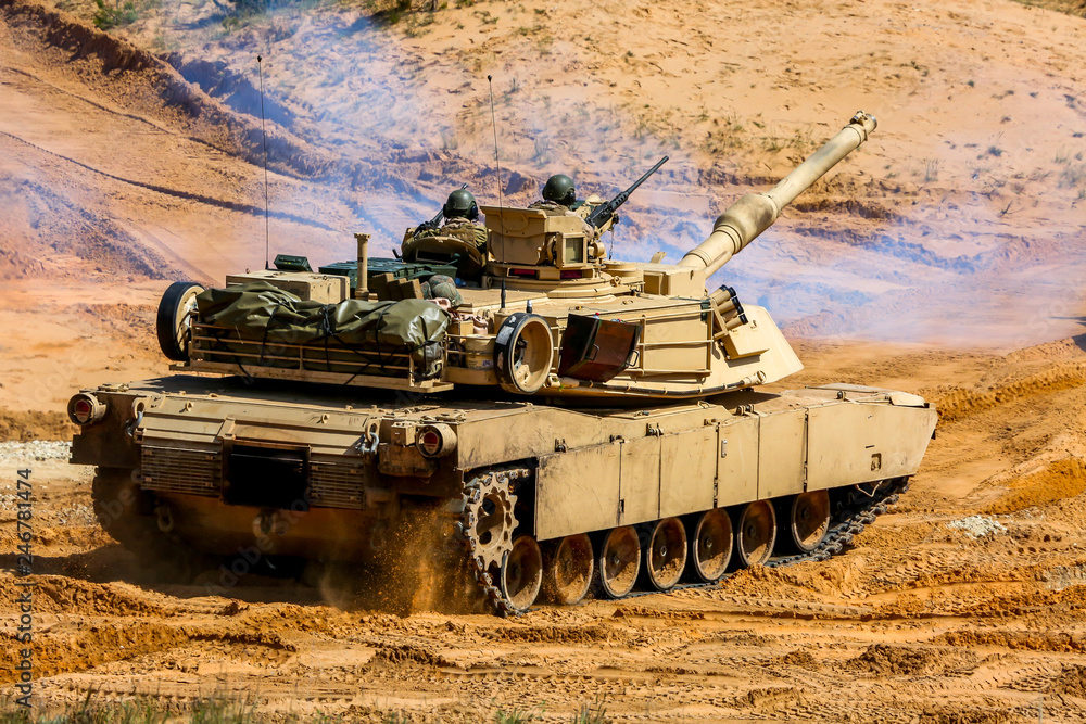 Fototapeta Tank in military training Saber Strike in Latvia.
