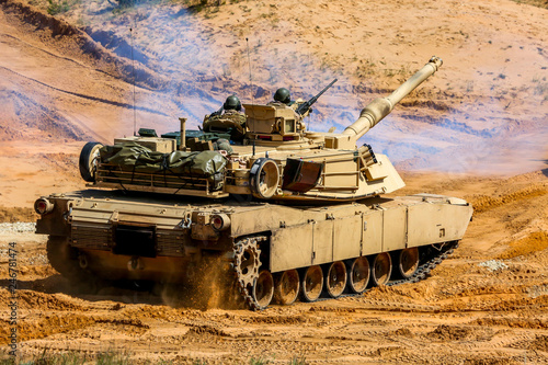 Tank in military training Saber Strike in Latvia. Canvas Print