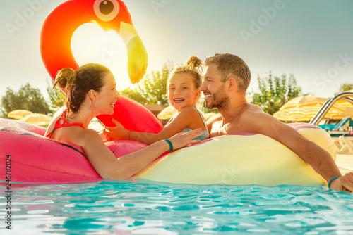 Fotografie, Obraz  Familie Pool spaß