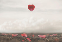 Surreal Image Of A Rose Petal Shaped Like A Heart Flying Free In The Sky