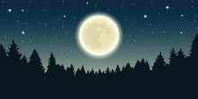 Starry Sky With Full Moon In Forest Landscape Vector Illustration EPS10