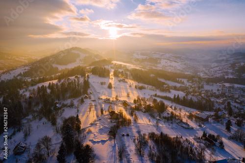 Foto auf Gartenposter Gebirge Winter scenery in Silesian Beskids mountains. View from above. Landscape photo captured with drone. Poland, Europe.