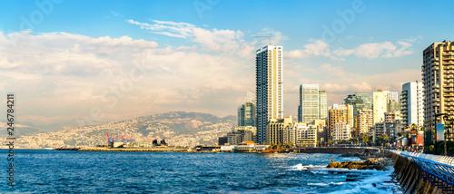Photographie The Corniche seaside promenade in Beirut, Lebanon