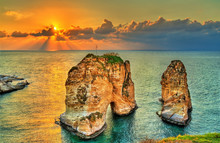 Raouche Or Pigeons Rocks In Beirut, Lebanon