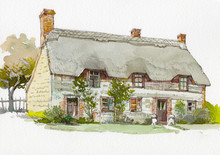 English Cottage Watercolor Hand Drawn Painting
