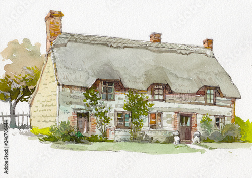 English cottage watercolor hand drawn painting Fototapeta