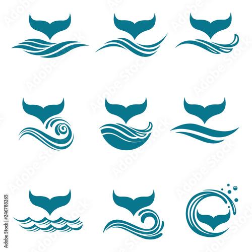 Fototapeta premium kolekcja z abstrakcyjnymi symbolami ogona wieloryba i fal morskich