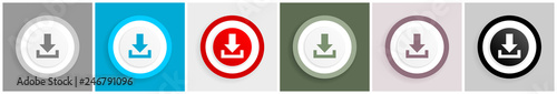 Fotografía  Download icon set, vector illustrations in 6 options for web design and mobile a