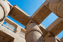 Ancient Egyptian Hieroglyphic Carvings On Columns In Temple