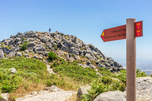Foia Trail Sign Pointing To Highest Pick Of Algarve, Portugal