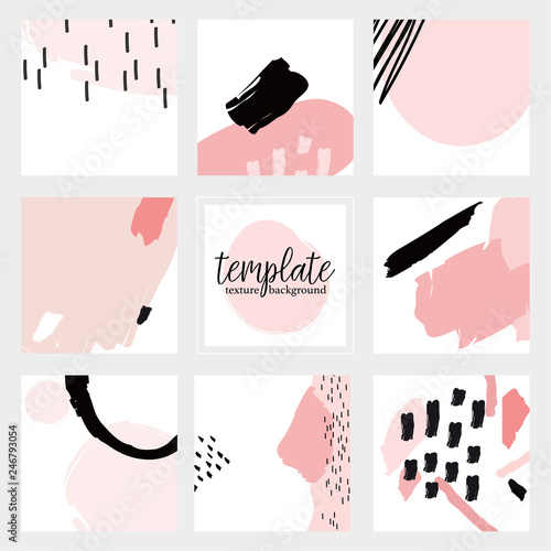 Valokuva  Set of  painting textures and abstract background - vector illustration