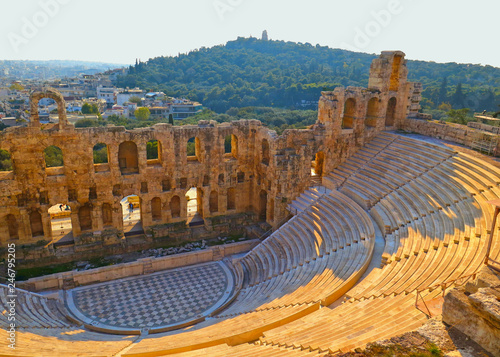 Recess Fitting Athens Panoramic view of the Odeon of Herodes Atticus at the Acropolis of Athens, Greece. It is one of the main landmarks of Athens. Scenic panorama of Herod Atticus Odeon overlooking Athens city