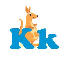 Alphabet For Children, Letter K, Kangaroo, Vector Illustration.