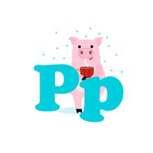 Alphabet For Children, Letter P, Pig, Vector Illustration.