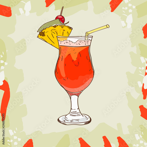 Fotografia Planter Punch sketch cocktail, of Dark rum, orange and pineapple juice, sugar syrup, Grenadine, Lemon, Angostura Bitter, crushed ice, pineapple, maraschino cherry