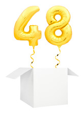 Golden Number Forty Eight Inflatable Balloon With Golden Ribbon Flying Out Of Blank White Box Isolated On White Background. Birthday Concept.