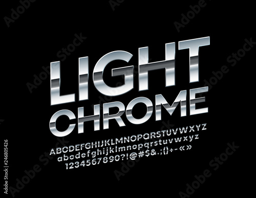 Rotated Chrome Alphabet Letters, Numbers and Symbols  Vector stylish