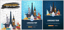 Language Trip, Tour, Travel. Learning Languages. Vector Illustration With Hand-draw Doodle Elements On The Background.