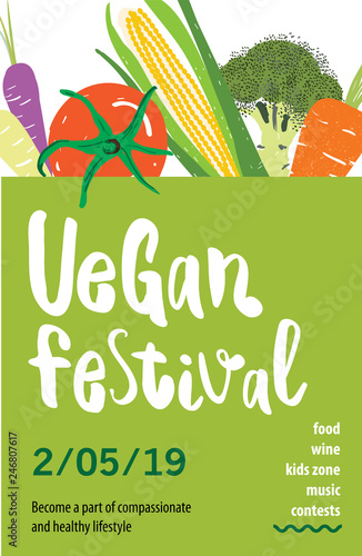 Vegan Festival Vector Poster Design With Vegetable Illustration And Lettering Text Vegetarian Set Of Organic Products Great For Menu Banner Flyer Buy This Stock Vector And Explore Similar Vectors At Adobe
