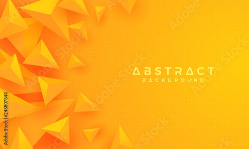 Abstract Modern 3d Triangle Orange Yellow Background