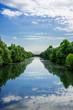 canvas print picture - Die Kinzig, gesäumt von Bäumen und mit Blütenstaub bedeckt bei Kehl am Rhein.