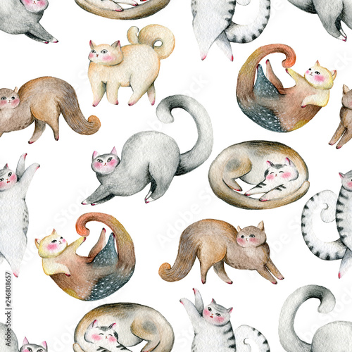 seamless-pattern-with-cute-cats-set-isolated-on-white-background-watercolor-illustration