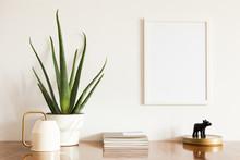 Design Interior With Mock Up Poster Frame.
