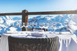 canvas print picture - luxury restaurant table with beautiful landscape view in alpine mountains