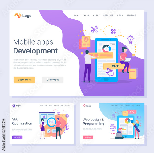 Mobile apps development programmers SEO optimization web pages vector. Online tools and instrument programming and design changing smartphone screen, flat style