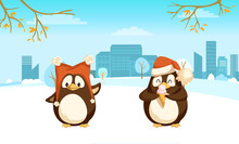 Cheerful Standing Penguin With Big Warm Hat And Enjoying Animal With Santa Cap And Ice-cream Near Trees And Buildings. Card With Branches And Clouds Vector
