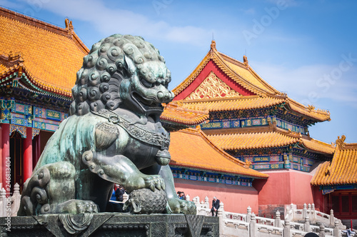 Staande foto Historisch geb. Lion statue in front of Gate of Supreme Harmony in Forbidden City, main tourist attraction of Beijing city, China