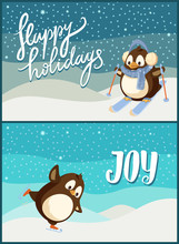 Merry Christmas Happy Holidays New Year Joy Poster Set Vector. Snowflakes And Penguin Having Fun With Activity, Wildlife Skiing Bird In Warm Clothes