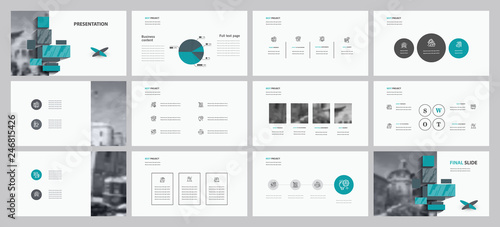 Fototapeta This template is the best as a business presentation, used in marketing and advertising, flyer and banner, the annual report. Elements on a dark grey background obraz na płótnie