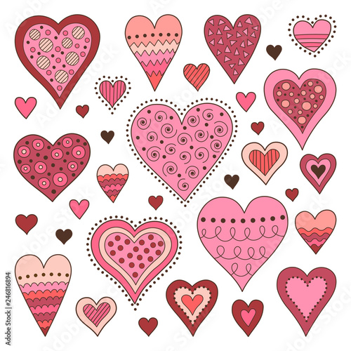 Set of hand drawn hearts. Symbols of love. Design elements for Valentine's day.  Fototapete