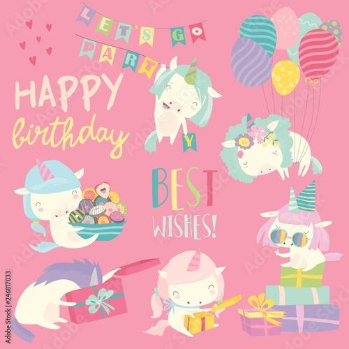 Cute white cartoon unicorns with birthday theme