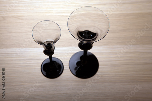 empty liquor glass wooden table
