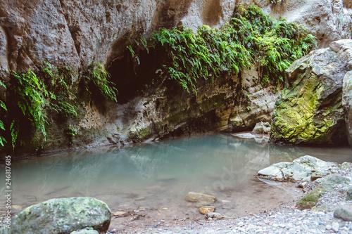 Fototapeta Stuck Hanging Stone in Avakas canyon