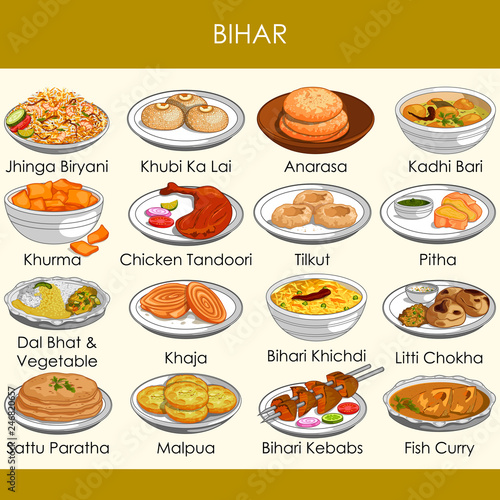 Fotografie, Obraz  illustration of delicious traditional food of Bihar India