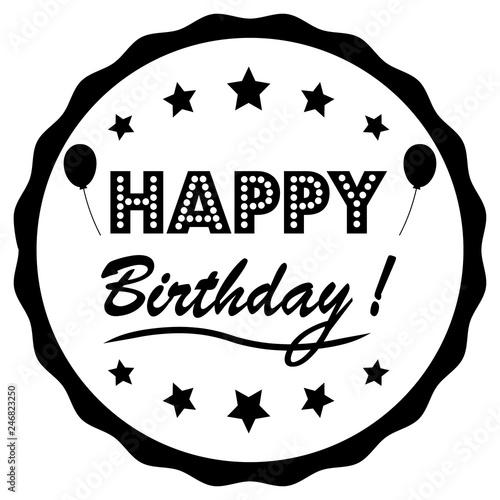 Photo  Happy birthday greeting card. Vector design illustration.