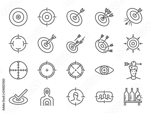 Obraz Target line icon set. Included icons as aim, goal, crosshair,  shoot, shooting and more. - fototapety do salonu