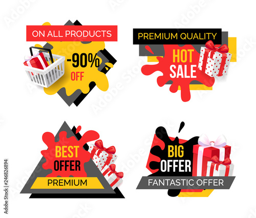 Photo Premium quality products sale, exclusive offer isolated banners set vector